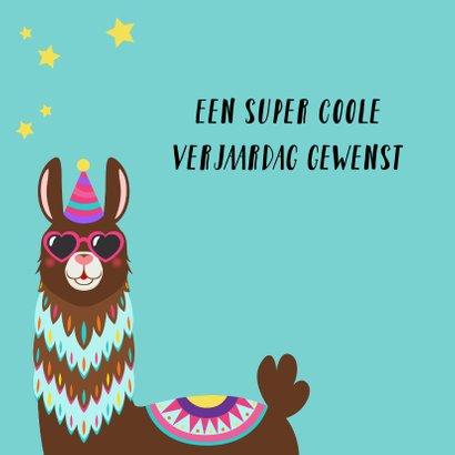 Verjaardagskaart met alpaca met bril 2
