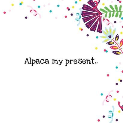 Verjaardagskaart met alpaca, taart en slingers 3