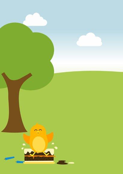 Verjaardagskaart met blij oranje vogeltje van glijbaan 2