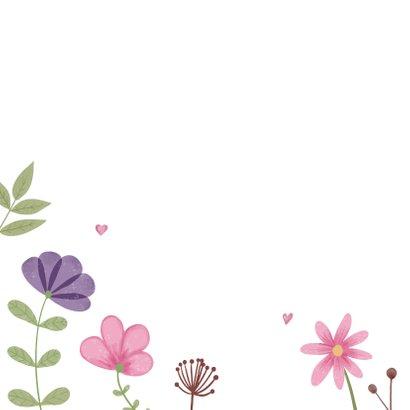 Verjaardagskaart met bloemen en hartjes 2