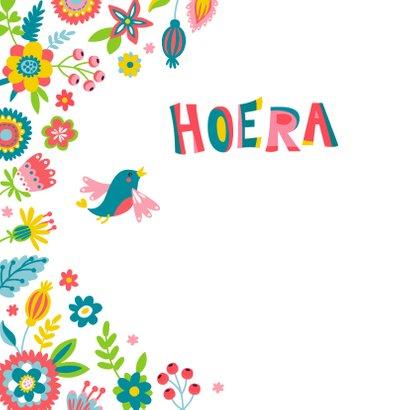 Verjaardagskaart met bloemen en vogels  2