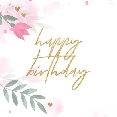 Verjaardagskaart met bloemen, takjes, hartjes en waterverf 2