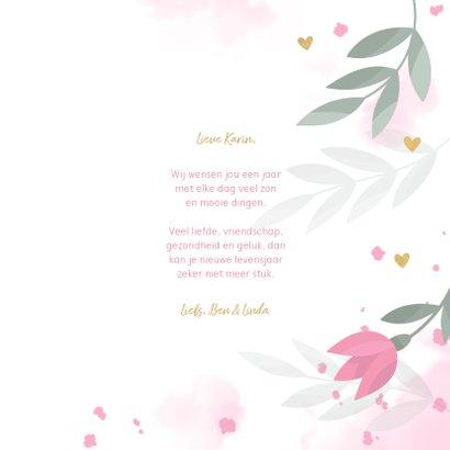 Verjaardagskaart met bloemen, takjes, hartjes en waterverf 3