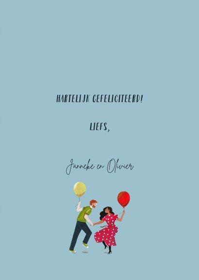 Verjaardagskaart met dansende mensen en ballonnen 3