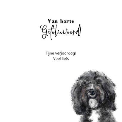 Verjaardagskaart met een tekening van een hond  3