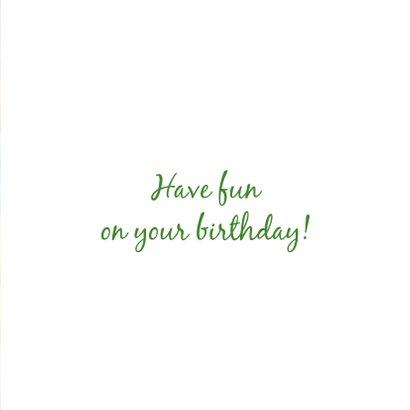 Verjaardagskaart met feestelijke kleurrijke snoepjes 3