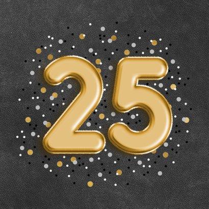 Verjaardagskaart met folieballon '25', confetti en leerlook 2