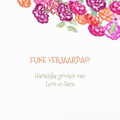 Verjaardagskaart met gekleurde anjers 3