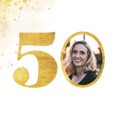 Verjaardagskaart met gouden 50 en foto 2