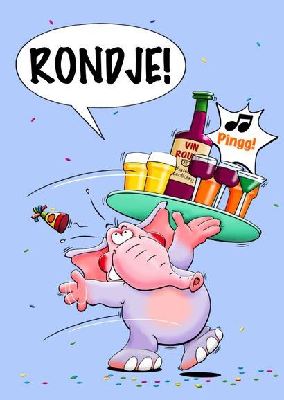 Verjaardagskaart met grappige olifant, rondje van de jarige! 2