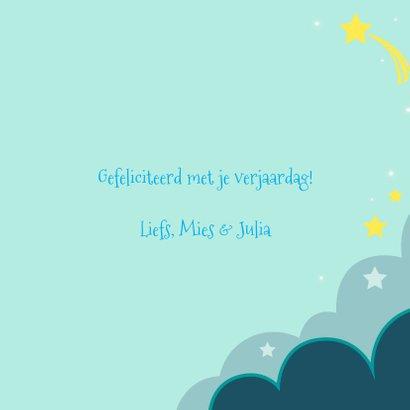 Verjaardagskaart  met kat met blauwe ballon in de wolken 3