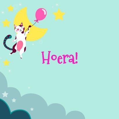 Verjaardagskaart met kat met roze ballon in de wolken 2