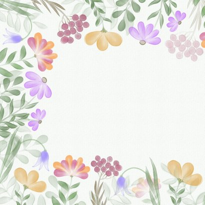 Verjaardagskaart met kleurrijke bloemenrand 2