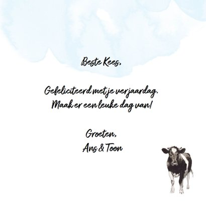 Verjaardagskaart met koeien hiep hiep boeraa! 3