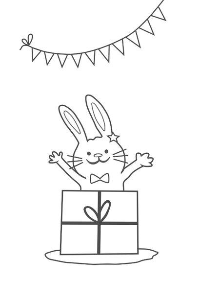 Verjaardagskaart met konijn - 2 jaar  2
