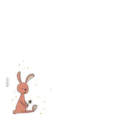 Verjaardagskaart met konijn in roze 2
