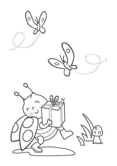 Verjaardagskaart met lieveheersbeestje - 4 jaar 2
