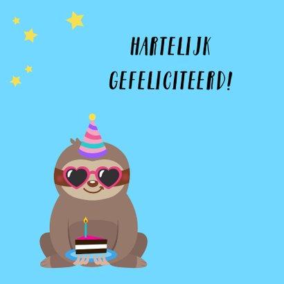 Verjaardagskaart met luiaard en taart 2