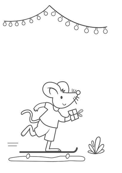 Verjaardagskaart met muis - 3 jaar 2