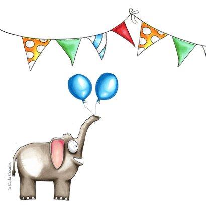 Verjaardagskaart met olifant en slingers 2