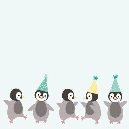 Verjaardagskaart met pinguïn met feesthoed 2