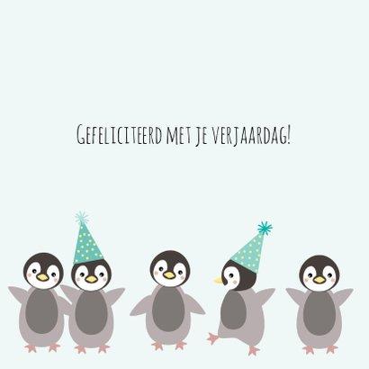 Verjaardagskaart met pinguïn met feesthoed 3