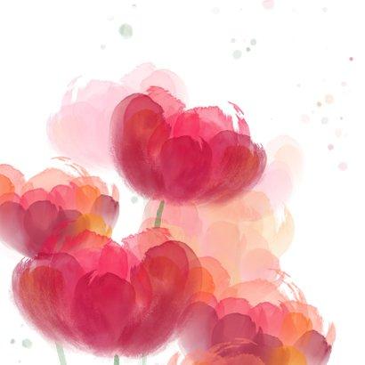 Verjaardagskaart met rode tulpen in waterverf 2