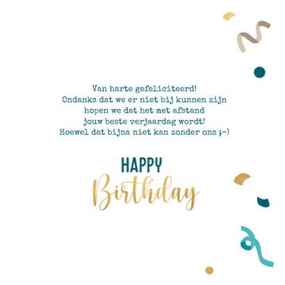 Verjaardagskaart met slingers en confetti 3