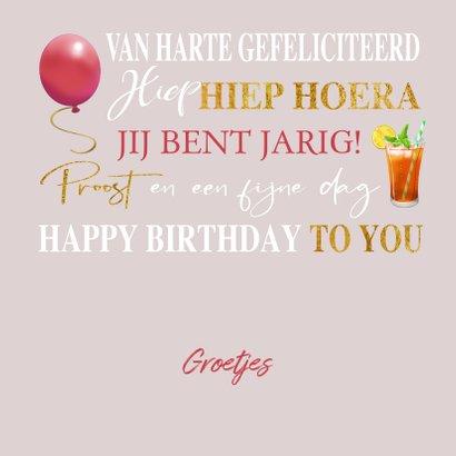 Verjaardagskaart met teksten, drankjes en gebakjes goud 3
