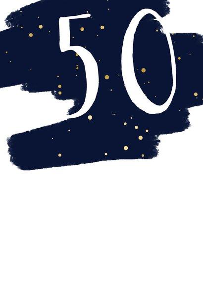 Verjaardagskaart met verflook en gouden spetters aanpasbaar 2
