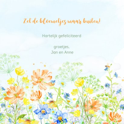 Verjaardagskaart met vrolijk gekleurde zomerbloemen 3