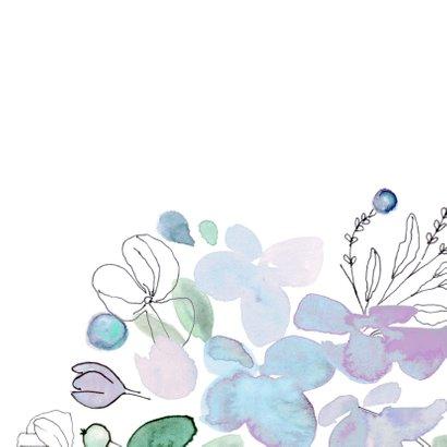 Verjaardagskaart met vrolijke bloemen in blauw 2