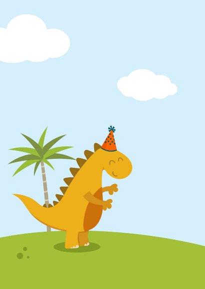 Verjaardagskaart met vrolijke dino 2