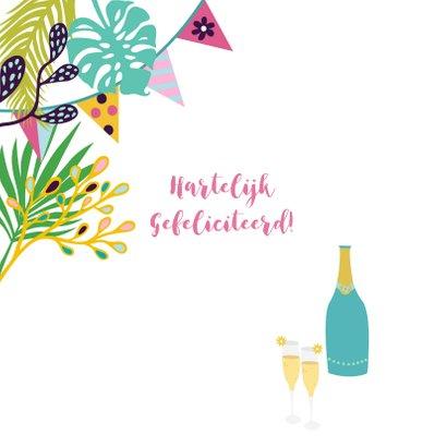 Verjaardagskaart met vrolijke kat, champagne en planten 2