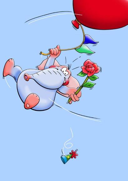 Verjaardagskaart met zwevende olifant en ballon als hart 3