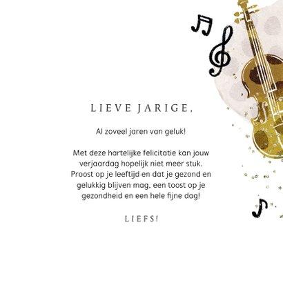 Verjaardagskaart muziekinstrumenten feest waterverf goud 3