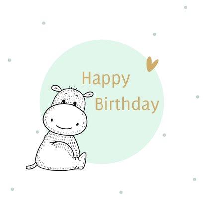 Verjaardagskaart nijlpaardje met mint cirkel en confetti 2