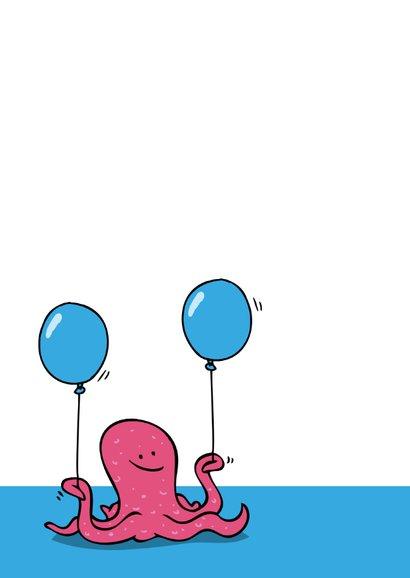 Verjaardagskaart Octopus met Taart 2