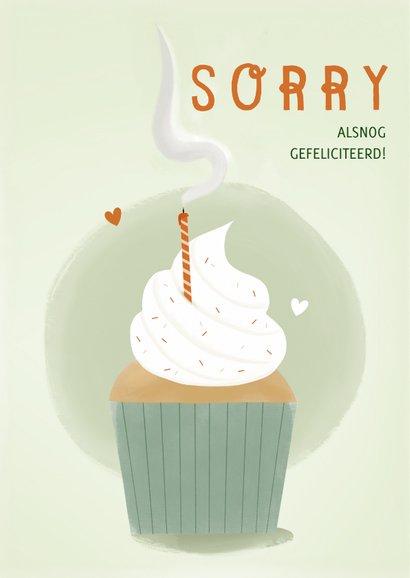 Verjaardagskaart oeps te laat cupcake uitgeblazen kaars 2