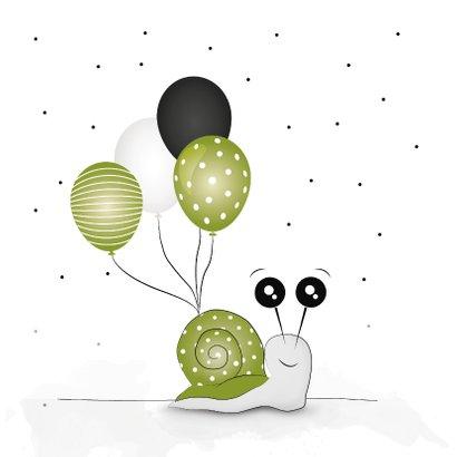 Verjaardagskaart oeps... te laat! slak met ballonnen 2