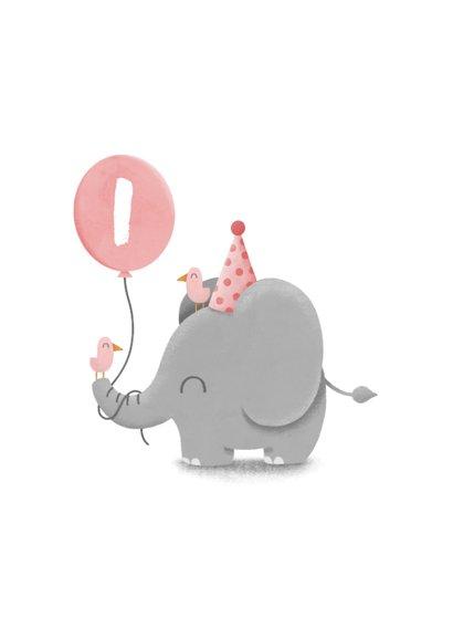 Verjaardagskaart olifantje met ballon en vogels 2