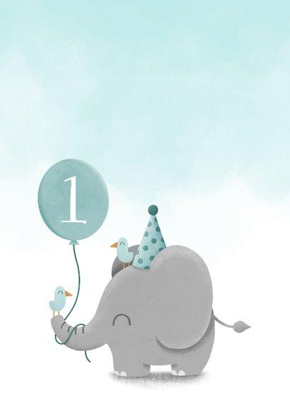 Verjaardagskaart olifantje met ballon en waterverf 2