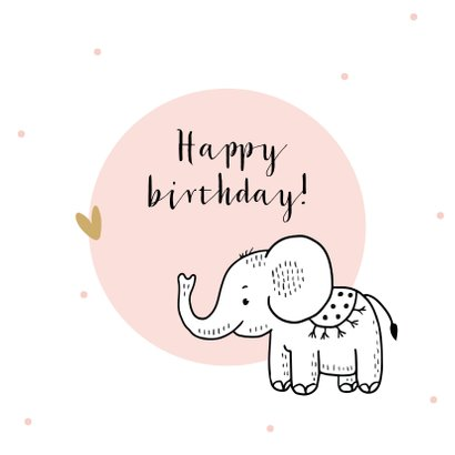 Verjaardagskaart olifantje met roze cirkel en confetti 2