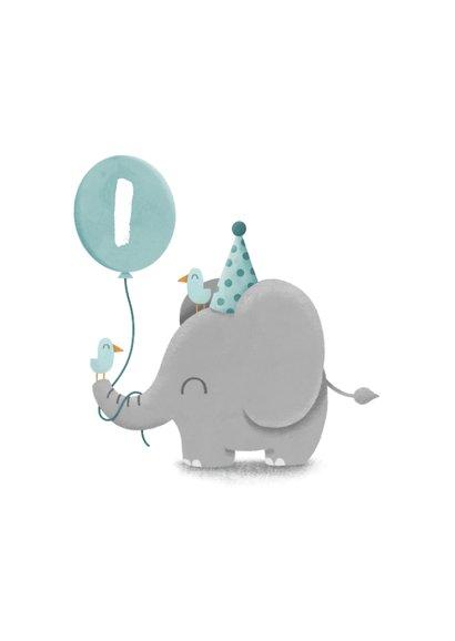Verjaardagskaart olifantje met vogels en ballon 2