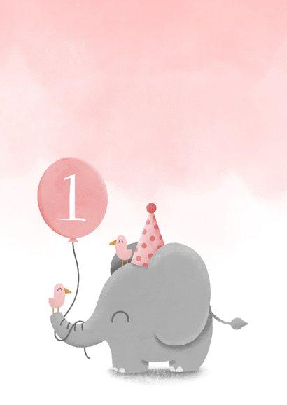 Verjaardagskaart olifantje met waterverf en ballon 2