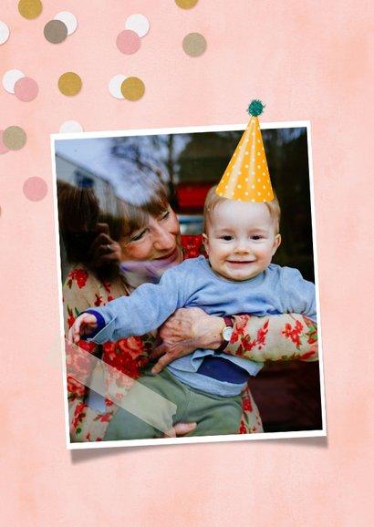 Verjaardagskaart Oma confetti aanpasbare naam en leeftijd 2