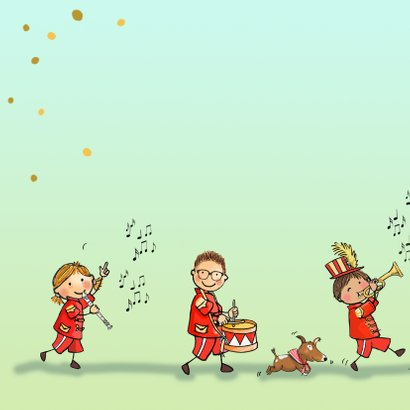 Verjaardagskaart orkest rood av 2