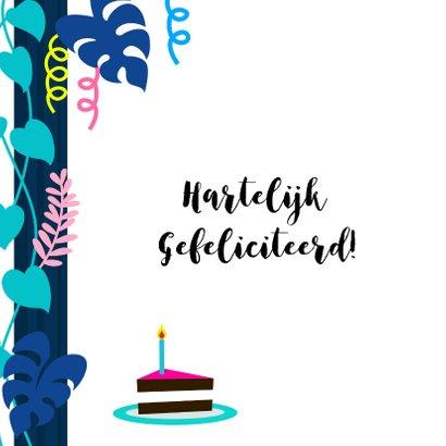 Verjaardagskaart panda met taart, slingers en planten 2