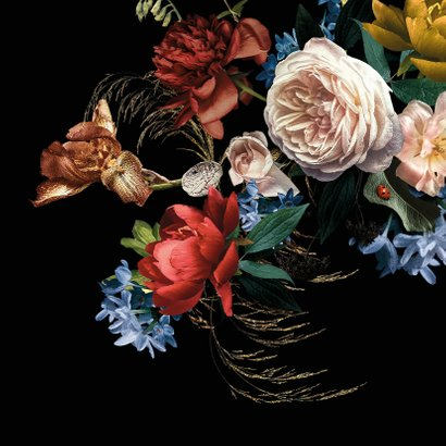 Verjaardagskaart prachtig boeket bloemen goud 2