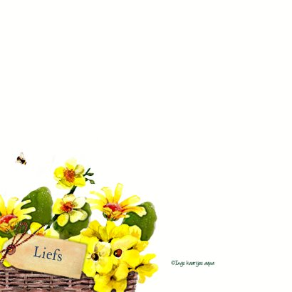 Verjaardagskaart rieten mand met gele bloemen 2